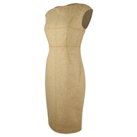 Magaschoni Dress Camel w/ Leather Trim Sheath 4 - mightychic