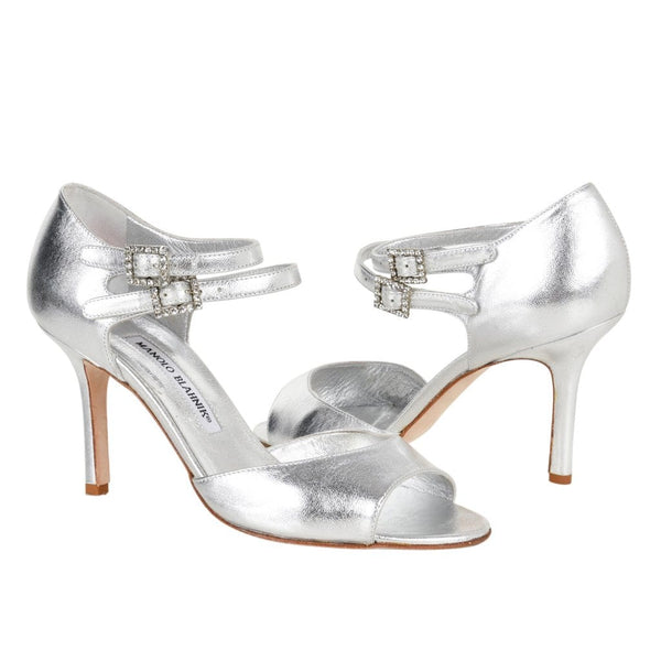 Manolo Blahnik Shoe Silver Double Strap Diamante Buckle  37.5 / 7.5 - mightychic