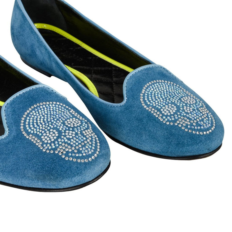 Philipp Plein Shoe Blue Suede w/ Diamante Skull 39.5 / 9.5 - mightychic