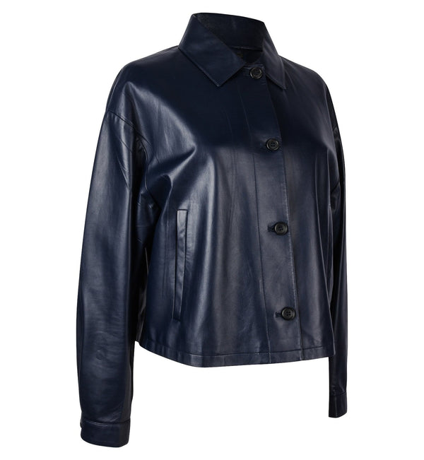 Prada Jacket Royal Navy Lambskin Feather Light 8 Mint - mightychic