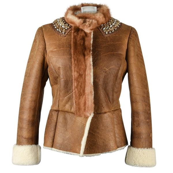 Prada Jacket Distressed Shearling Mink Trim and Jeweled Collar 40 / 6 - mightychic