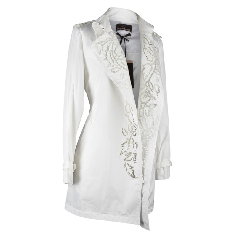 Roberto Cavalli Coat Trench Laser Cut Detail Winter White 42 / 8 New w/Tag