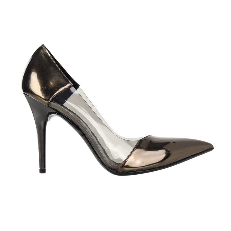 Stella McCartney Shoe Iconic Vegan Pewter Patent Leather and PVC Pump  38 / 8 - mightychic