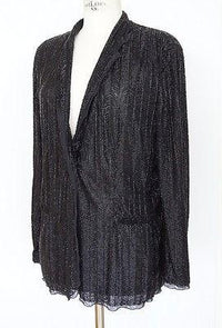 Giorgio Armani Jacket Jet Black Herringbone Bugle Beads Exquisite 2DIE4  48 / 10 - mightychic