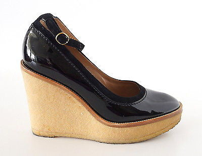 YVES SAINT LAURENT / YSL shoe black patent crepe wedge 38 /8