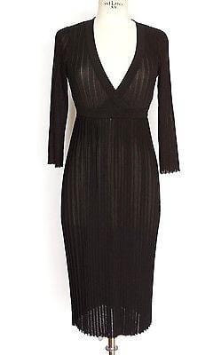 Dolce&Gabbana Dress 3/4 Sleeve Black Knit Deep V Neck 42 / 8