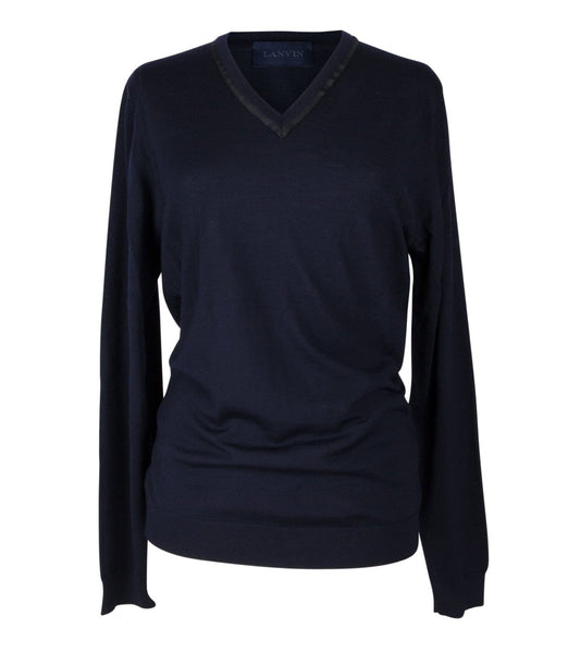 Lanvin Top chic V Neck Dark Navy Sweater Pretty Neck Detail L