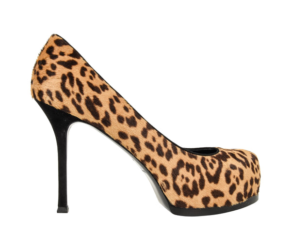 YSL Saint Laurent Shoe Tribute Leopard Pony Pump 39 / 9 New - mightychic