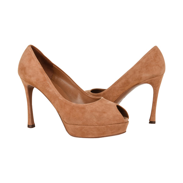 Yves Saint Laurent Shoe Peeptoe Suede Platform Pump 36.5 / 6.5