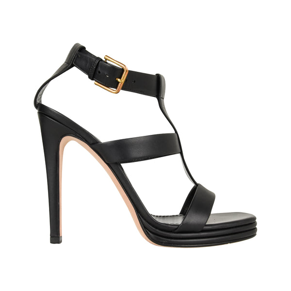 YSL Shoe Bold T Ankle Strap Strap Platform Black Leather 39 / 9 - mightychic