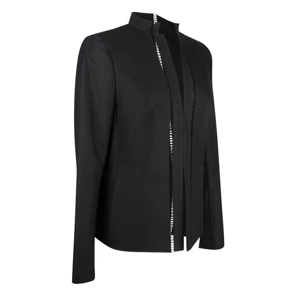 Akris Jacket Black Neru Mandarin Collar Pretty Cutout 8