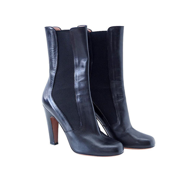 Azzedine Alaia Boot 3/4 Length Black Leather Classic 39 / 9