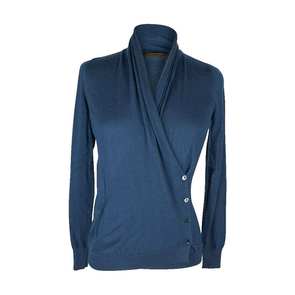 Alexander McQueen Sweater Unique Wrap Cardigan Beautiful Blue  XS