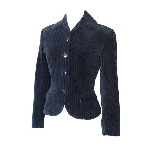 Azzedine Alaia Jacket Divine Shaping Pin Stripe Velvet Rich Navy 38 / 4 - mightychic