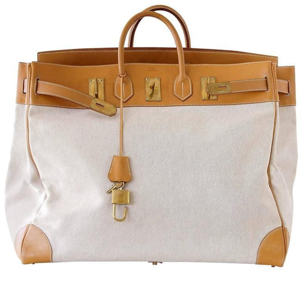 Hermes Birkin 55 Bag HAC Men's Toile Vache Naturelle Brass Hardware Unisex - mightychic