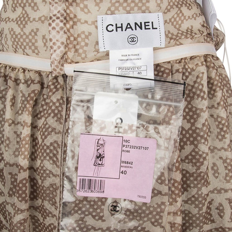 Chanel 10P Dress Whisper Light Halter Neck Flower Heaps CC Lion Face 40 / 6 nwt