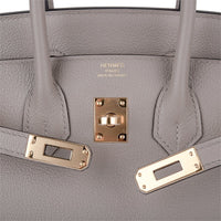 Hermes Birkin 25 Bag Gris Asphalte Novillo Leather Gold Hardware