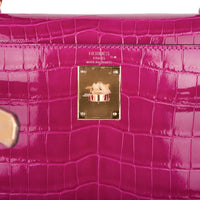 Hermes Kelly 28 Sellier Bag Rose Scheherazade Crocodile Gold Hardware
