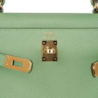 Hermes Kelly Sellier 25 Bag Vert Criquet Epsom Leather Gold Hardware