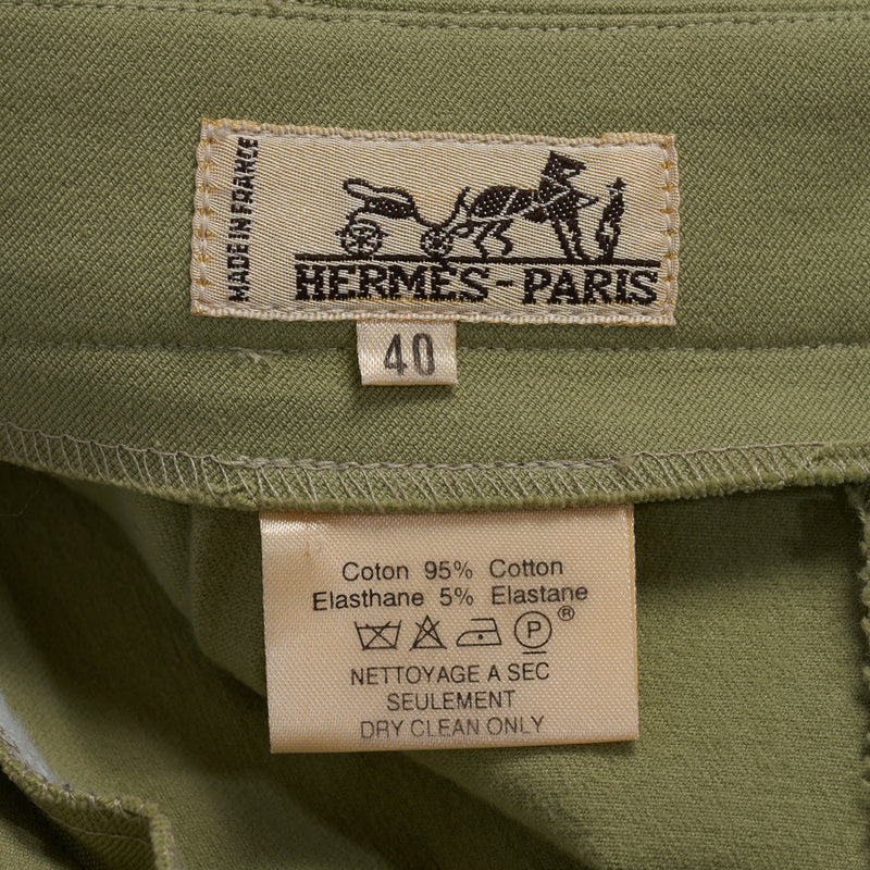 Hermes Riding Pant Vintage Celadon 5 Gold Embossed Ankle Snaps  40  6