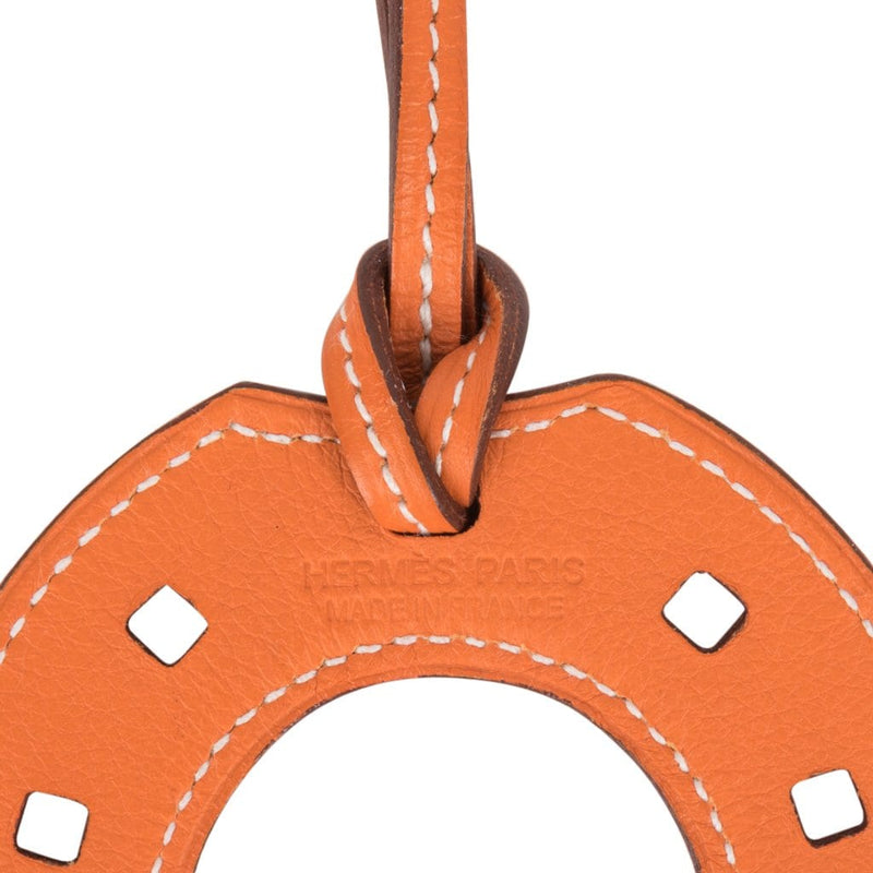 Hermes Bag Charm Paddock Fer A Cheval  Horseshoe Rare Orange Leather new