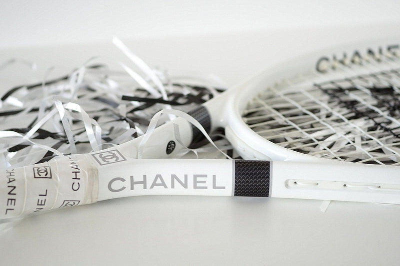 Chanel Limited Edition Tennis Racquet Racket 4 Tennis Balls and Case new - mightychic