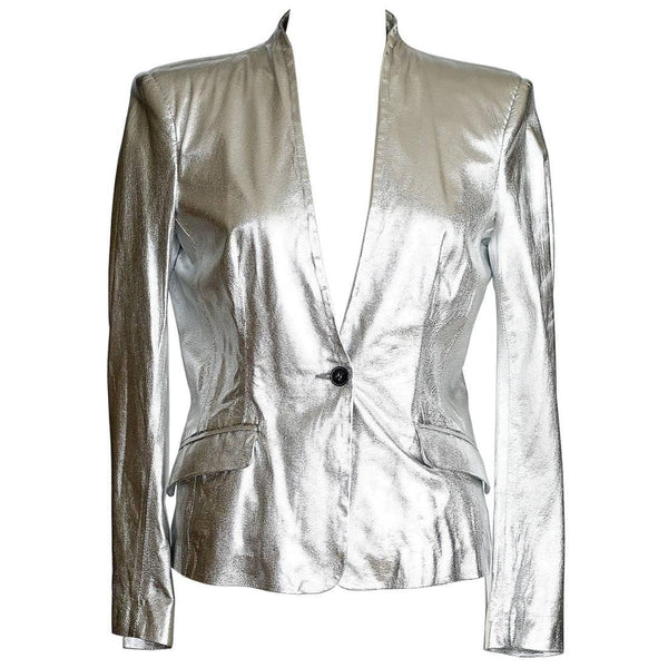 Pierre Balmain Jacket Ice Silver Light Weight Leather  42 / 8 nwt