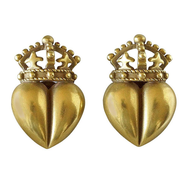 Barry Kieselstein-Cord 18K Gold Signature Green Gold Earrings Coveted Iconic Heart Crown - mightychic