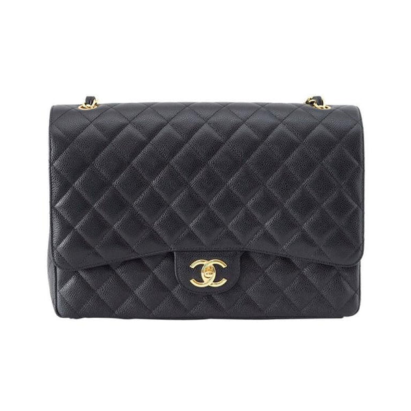 Chanel Bag Maxi Coveted Black Caviar Leather Gold Hardware