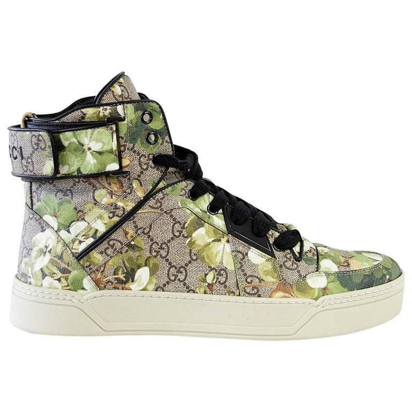 Gucci Shoe Men's Blooms Monogram Canvas Blooms High Top Sneaker 9 G