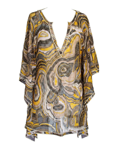 Missoni Top V Neck Tunic Warm Metallic Shades M