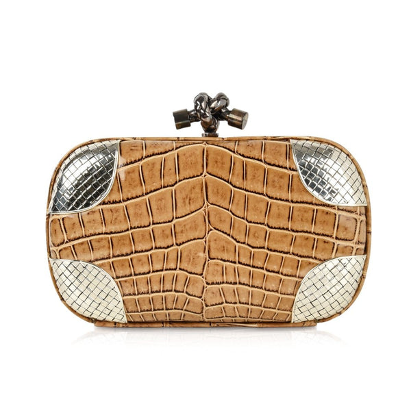 Bottega Veneta Bag Knot Crocodile Clutch Woven Silver Details - mightychic