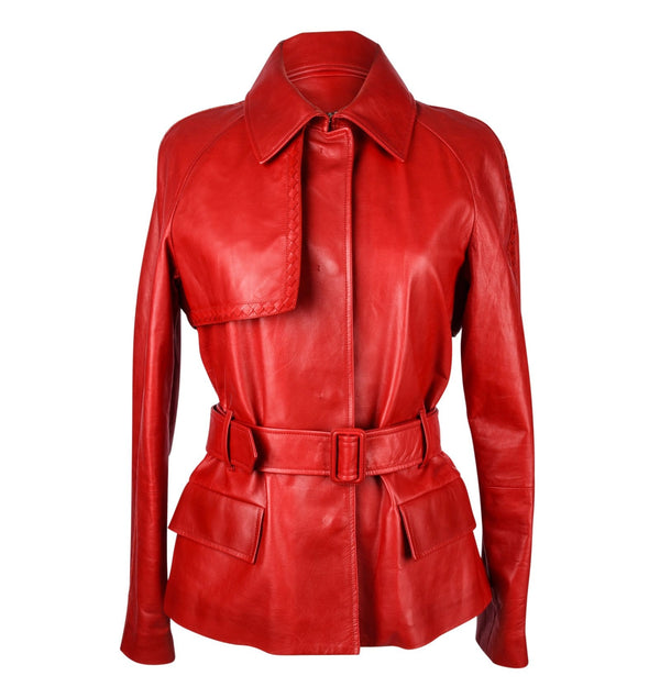 Bottega Veneta Jacket Red Leather Trench Inspired 42 / 8 New - mightychic