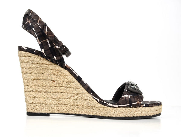 Bottega Veneta Shoe Roped Wedge Tri Color Ankle Strap 40 / 10 New - mightychic