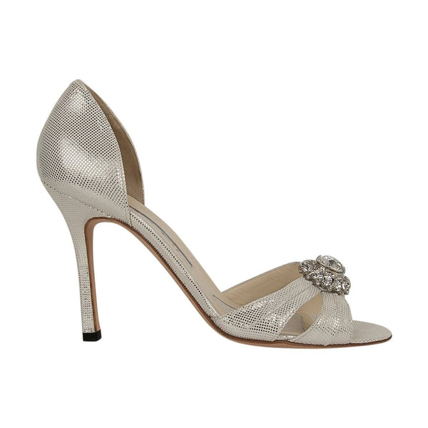 Brian Atwood Shoe Silver Shimmer Large Diamante 37 / 7 new/box