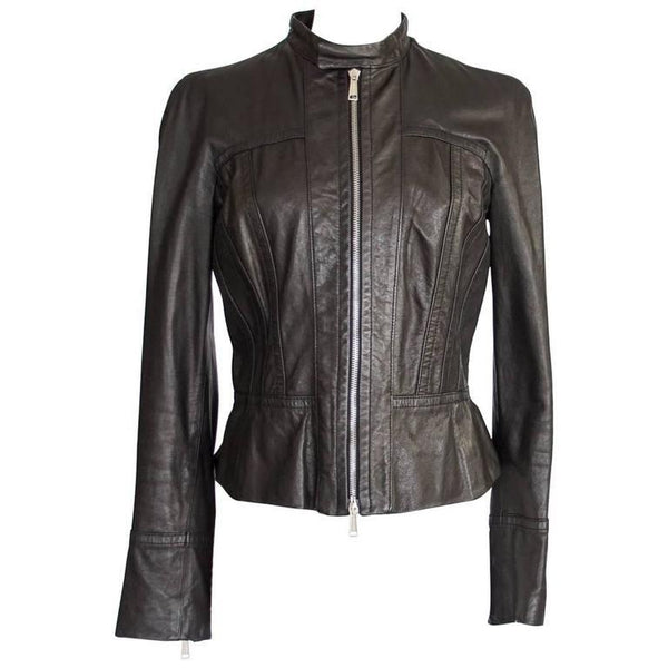 DSquared Jacket Black Leather Motorcycle Influence Ruffle Detail 46 / 8