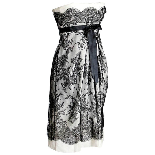 Valentino Dress Exquisite Black Lace Overlay Strapless Empire 38 / 4