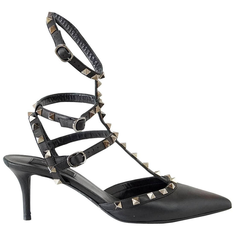 Valentino Shoe Black Triple Rockstud Ankle Straps 39 / 9 - mightychic