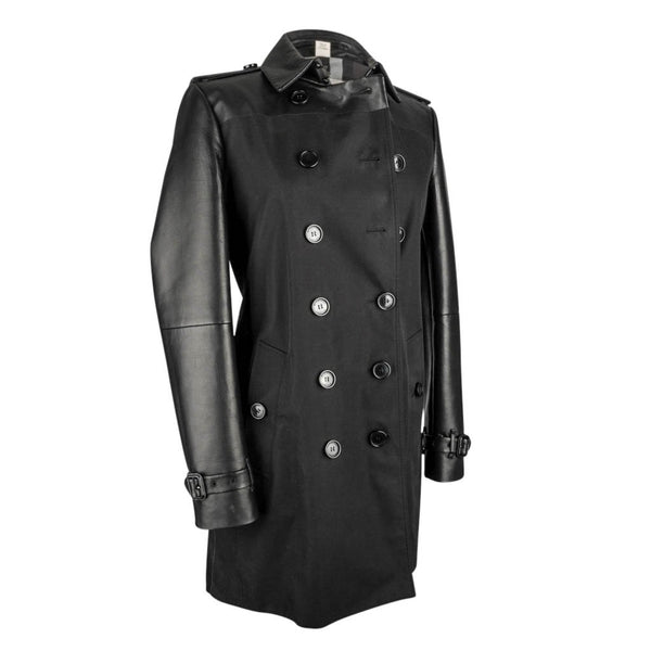 Burberry Trench Coat Black Lambskin Leather and Cotton 8 / 6 - mightychic