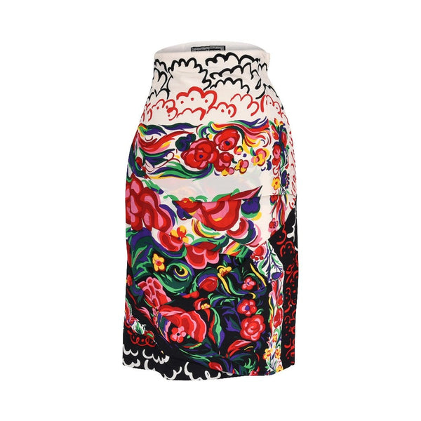 Gianni Versace Couture Vintage Skirt Abstract Floral Print Vivid Colours 6