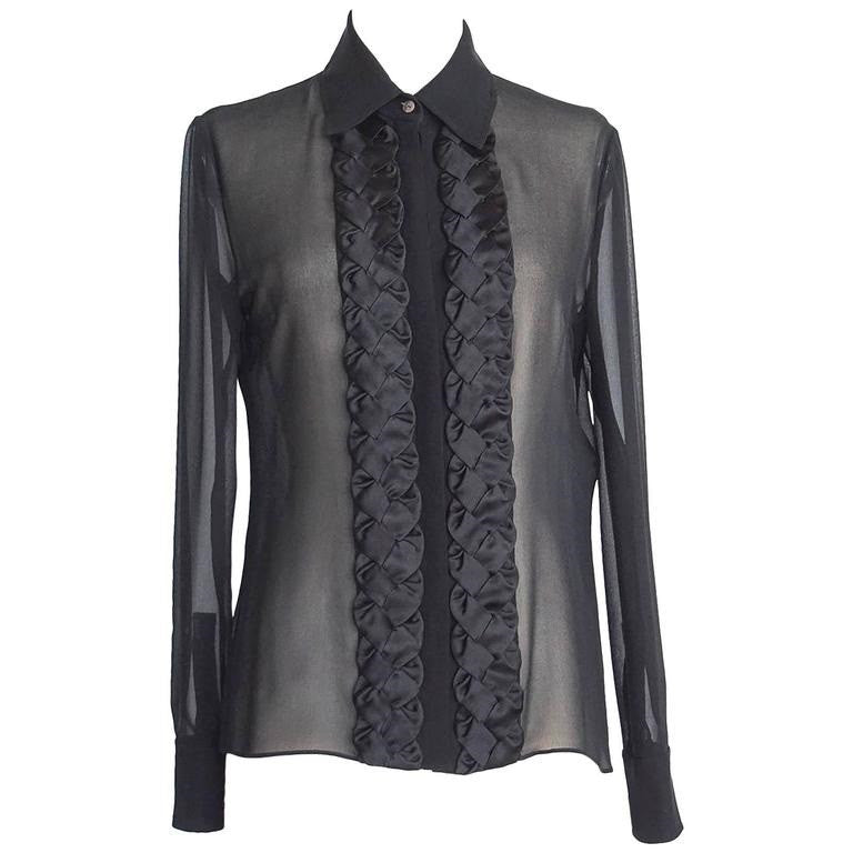 Valentino Top Black Blouse Beautiful Front Detail 8 nwt - mightychic