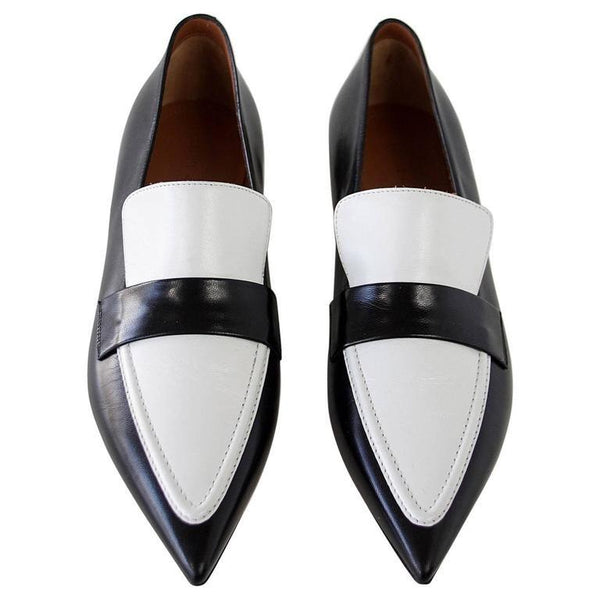 Celine Shoe Sleek Black and White Flat Pointed Toe