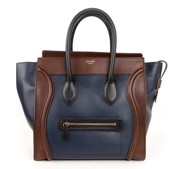 Celine Bag Phantom Medium Luggage Tote Tri Colour Navy Brown Black - mightychic