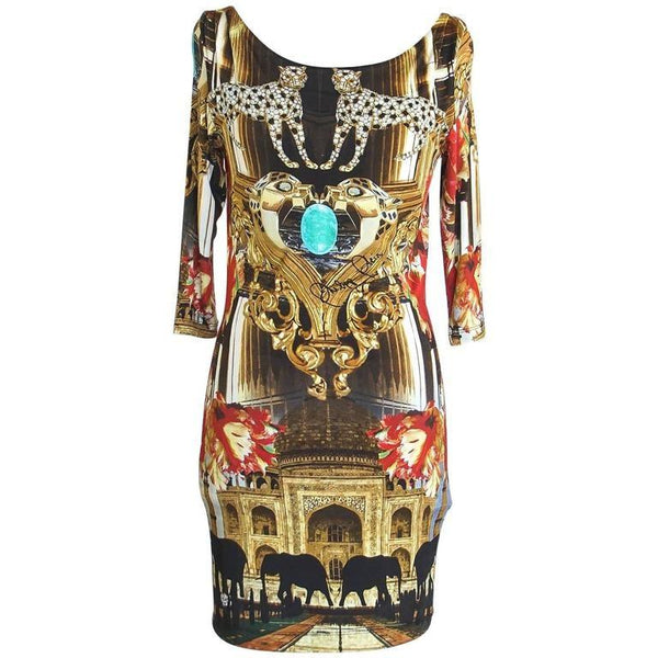 Philipp Plein Couture Dress Limited Edition Exotic Indian Print 3/4 Sleeve S - mightychic