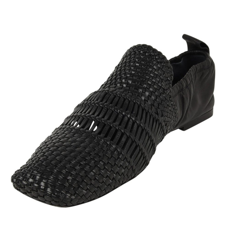 Celine Shoe Flat Woven Leather Square Toe Black 38.5 / 8.5 New - mightychic