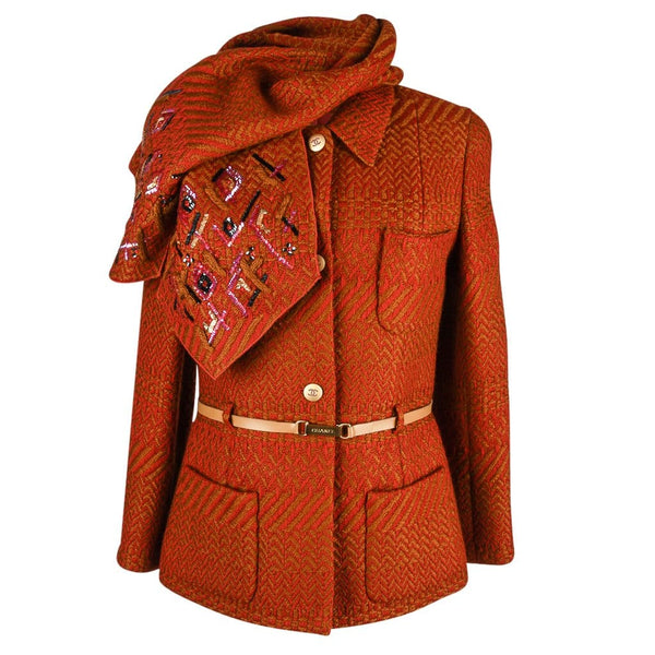 Chanel 00A Jacket Brick Camel w/Sequined Scarf Belt 42 / 8