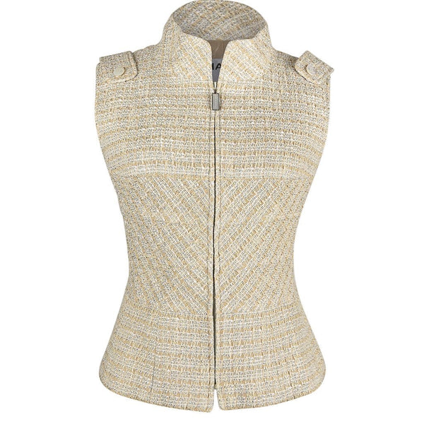 Chanel 01P  Fantasy Tweed Vest / Top Zip Front High Neck 42 fits 6 to 8