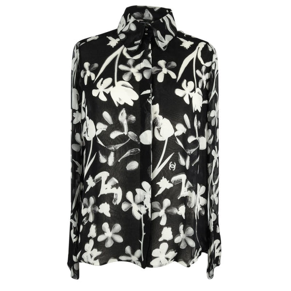 Chanel 04S Top Black and White Silk Chiffon Modern Floral Print Exquisite Detail 42 / 8 new