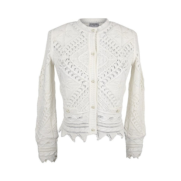 Chanel 04S Sweater White Cardigan Intricate Knit Pearl Buttons 38 / 4