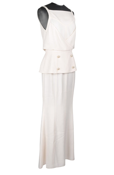 Chanel 14C Dress Backless Evening Winter White Floor Length 36 / 4 nwt